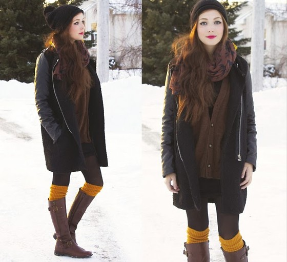 Breanne S. - Tabbisocks Yellow Knee High Socks, Aldo Leather Boots, Romwe Splice Jacket, Chicnova Horse Print Scarf - Grenadine Sunshine