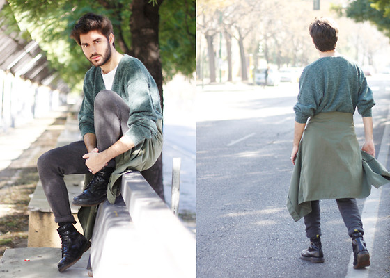 JJ Reyes - Vintage Sweater, H&M Shirt, H&M Sweatpants, Dr. Martens Boots - Around The City
