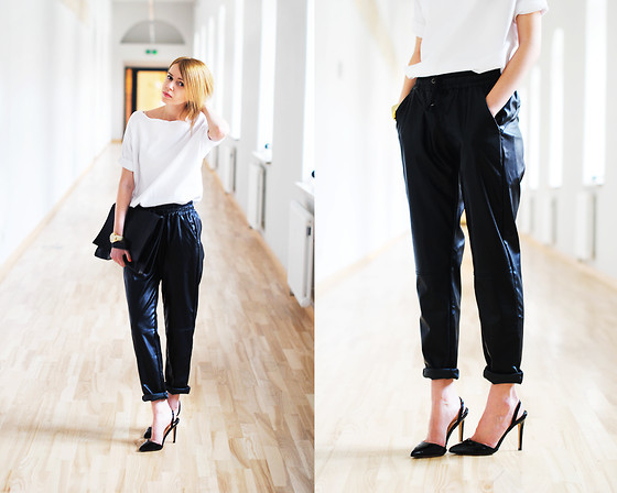 Johanna K. - Tee, Stradivarius Heels, Pants - BLACK AND WHITE