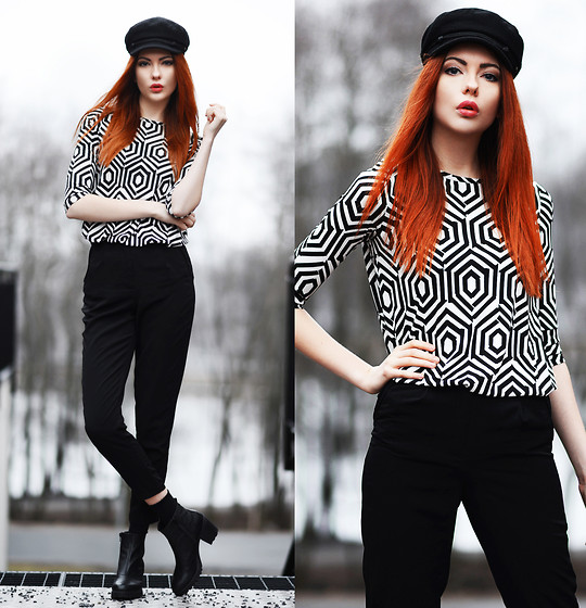 Ebba Zingmark - Armani Exchange Top (Dress), Forever 21 Pants, Vagabond Boots, 2hand Hat - GRAPHIC