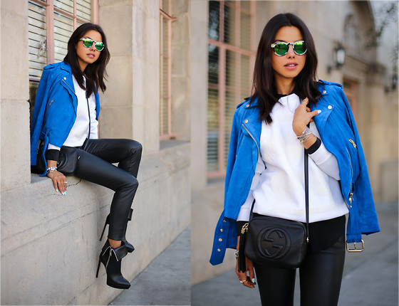 Annabelle Fleur - Sunglasses Illesteva, Club Monaco Jaclet, Saint Laurent Boots, Current Elliot Leather Pants - LEATHER LEG