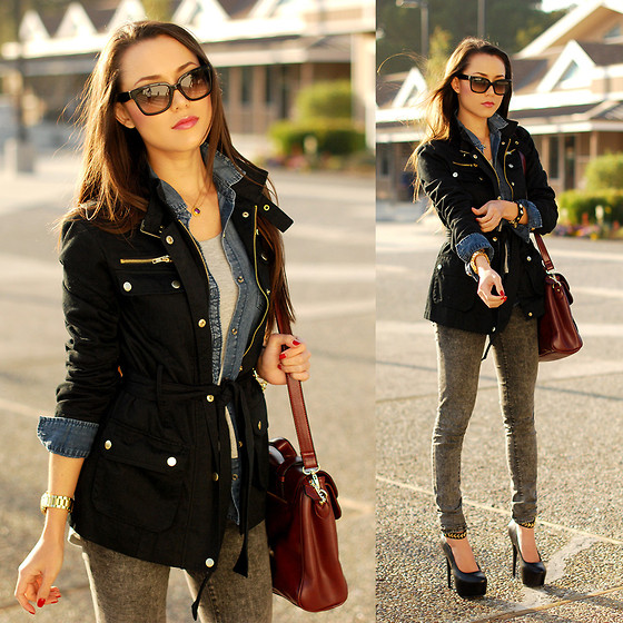 Jessica R. - Thread And Supply Blacket Jacket, Choies Maroon Bag, Forever 21 Gray Denim - Mixing Denim