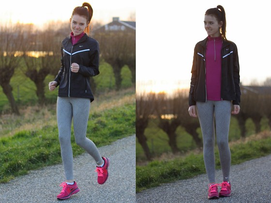 The Fashion Moodboard - Nike Running Jacket, Nike Printed Running Leggings, Nike Running Sneakers, Nike Pink Running Top - Just do it with Nike!