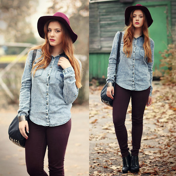 Valentine S. ☽ -  - BURGUNDY & DENIM
