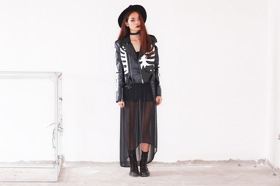Vu Thien - Choies Leather Jacket, Made By Me Long Skirt, Dr. Martens Vintage 1490 Boots, Forever 21 Bodysuit - DARK MAGIC