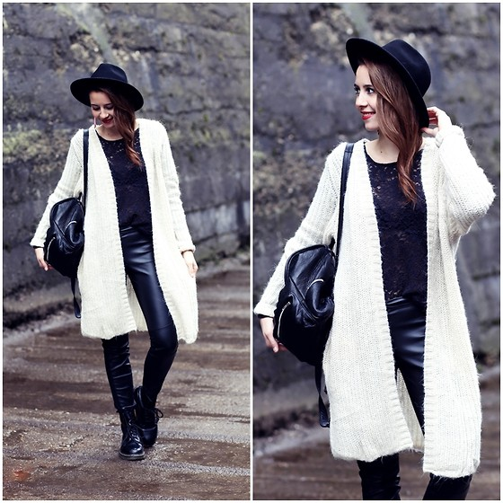 Herz über Kopf - H&M Cardigan, H&M Shirt, Dr. Martens Boots - Black and White