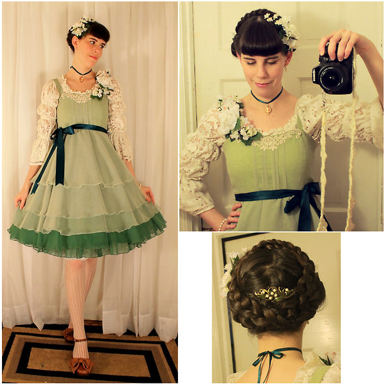 Tyler H - Handmade Green Chiffon Jumperskirt, Ebay Cream Crochet Stockings, Thrifted Caramel Heels, Handmade Cream Lace Blouse, Lily Of The Valley Hair Corsage, Lily Of The Valley Rose Garland Corsage, Sweet Romance Lily Of The Valley Hairclip, Handmade Shoe Bows - Lead a merry dance