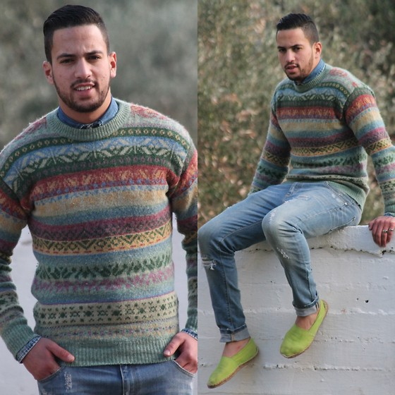 Nabil Asserghine - Pull & Bear Pant, Genfins Sweater, G.N Shirt Jeans - Green touch ;)