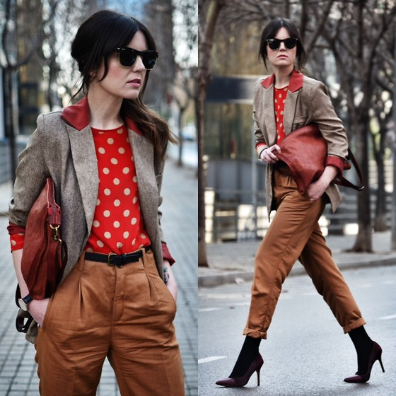 Laura Views - Oasap Blazer, Brussosa Bag, Obey Pants, Sam Edelman Heels, Massimo Dutti Blouse - Layering with earth tone colors