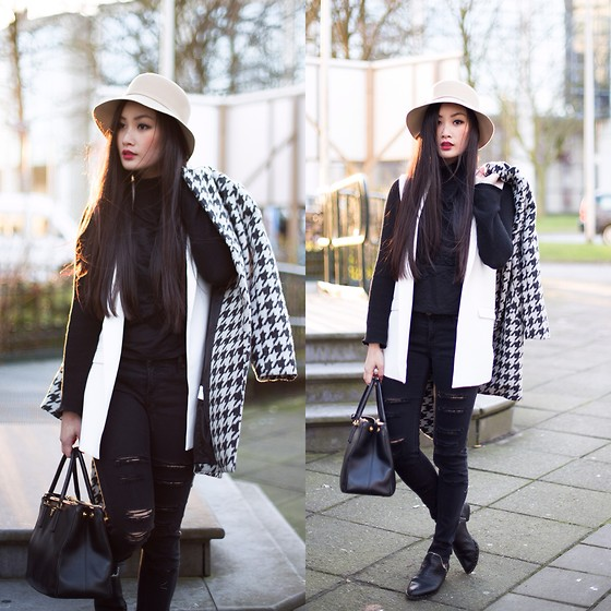 Levi Nguyen - Hat, Waistcoat, Houndstooth Coat, Ripped Jeans, Boots - MAD HATTER