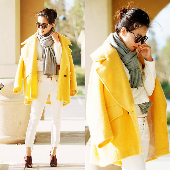 Hallie S. - H&M Yellow Boxy Coat, Cashmere Scarf, White Skinny Jeans, Christian Louboutin Booties - Yellow Boxy Coat