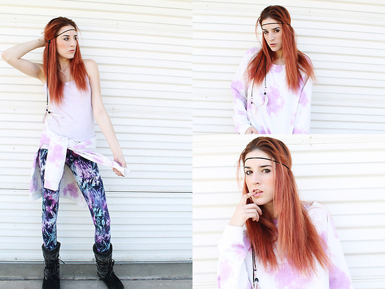 Rose Pendleton - Forever 21 Lavender Top, I'm A Jerk Industries Pastel Pink Feather Wrap, Forever 21 Tie Dye Sweatshirt, Forever 21 Purple Leggings, Airwalk Furry Boots - Hippie Status