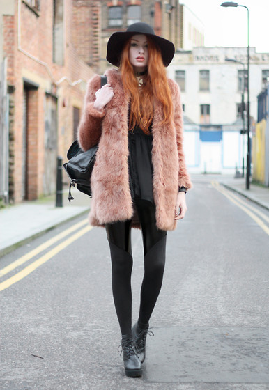 Olivia Emily - American Apparel Wool Hat, Asos Pink Faux Fur, Romwe Floaty Sheer Shirt, Black Milk Clothing Spartans Pvc Leggings - Digital Love.