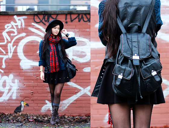 Dan T - New Look Backpack, Tartan Scarf - Rock Wetter