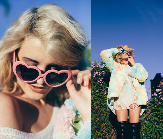 Rachel Lynch - Zerouv Pink Heart Sunnies, Shop Blonde Crystal Ring, Oracle Eye Cotton Candy Magic Coat, Wildfox Couture Palm Tree Sweater - Candyland