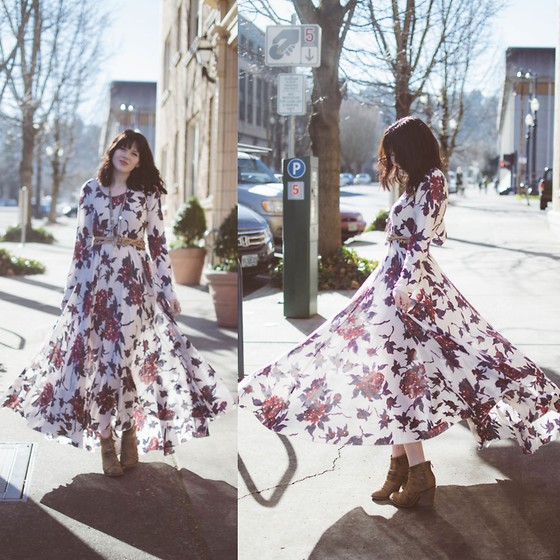 Kacie Cone - Free People First Kiss Dress, Free People Hybrid Heel Boot, Distressed Double Wrap Belt - First Kiss
