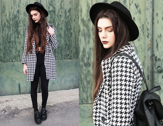 CLAUDIA Holynights - A Fabrica Dos Chapeus Hat, Jollychic Houndstooth Coat - I'd rather be hated for who I am,than loved for who I am not