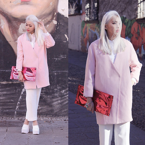 Cindy Karmoko - Frontrowshop Pink Coat, Self Made White Trousers, Jeffrey Campbell Skully Shoes, Maison Martin Margiela Candy Wrap Bag - Pink Coat