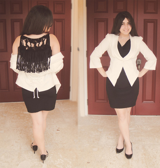 Veda C. - Black Tassel Dress, Xoxo White Blazer, Dkny Black Pumps - Going to Court for the first time!