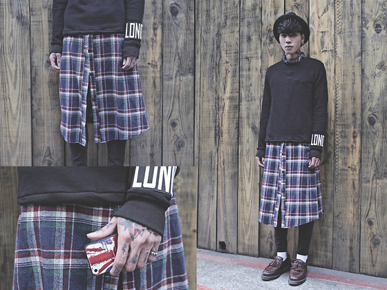 IVAN Chang - Tastemaker 達新美 Black London Sweater, Vintage Plaid Long Shirt, Topshop Black Skinny Jeans, Dr. Martens Loafers Shoes - 310114 TODAY STYLE