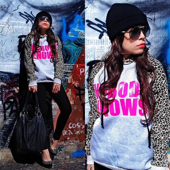 Priscila Diniz - Romwe Color Block Leopard Print Hooded Navy Blue Hoodie - Nobody knows