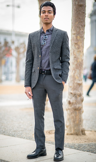 Josh Walter - Topman Blazer/Shirt/Trousers, Retrosuperfuture Sunglasses, Muji Belt, Alden Shoes - Four Hours [Away].
