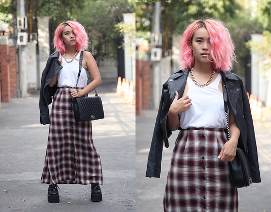 Nün Stannard - Asos Necklace, Nasty Gal Top, Chanel Bag, Unif Skirt, Lazy Oaf Creepers, Topshop Jacket - Don't Be A Puppet.