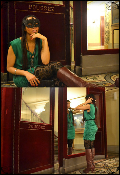 Sara Ki - Mango Green Drapé Dress, Asos Burgundy Boots, H&M Mask - At the Opera Garnier #Paris