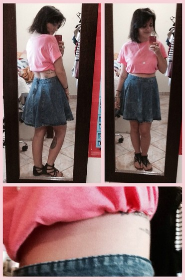 Anaeli Bettarello - Bluesteel Pink Cropped Top, Bluesteel Skater Skirt, Renner Sandals - Roses and jeans;