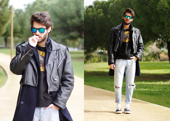 JJ Reyes - Vintage Biker Jacket, Penneys Sweater, Bershka Coat, H&M Jeans, Vans Shoes, Zerouv Sunglasses - Walk In The Park