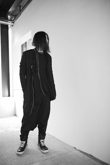 Hipsterken P - Studded Leather, Knit Wear, Zip Layer Cardigan, Harem Pant, Rick Owens High Top Sneaker - Gotten