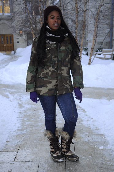 Simedar - Seven For All Mankind Jeans, Sorel Boots, Bcbg Scarf, Ebay Revamped Army Jacket - Army Strong