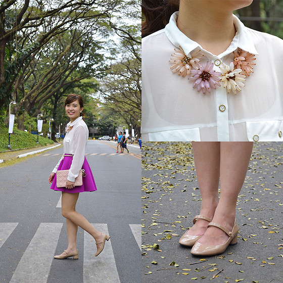 Michelle Lara Tan - Pink Manila Skirt, Zara Shoes, Topshop Top, Topshop Necklace - Radiant Orchid