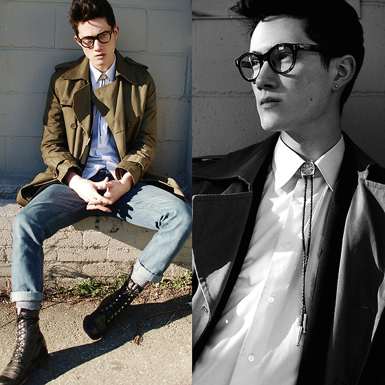 Nigel Lew - Aroundthecollar Bolo Tie, Vintage Boots, Canvas Trenchcoat - Around the Collar