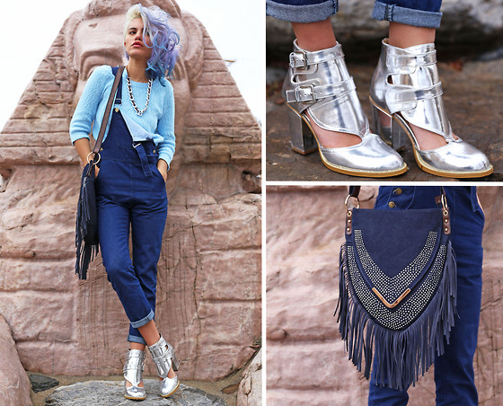 Alanna Durkovich - Nasty Gal Silver Cut Out Bootie, 8th And Main Overalls, La Moda Fringe Messenger Bag, Iweartheheadress Chain Headwrap - Double Denim in SLC