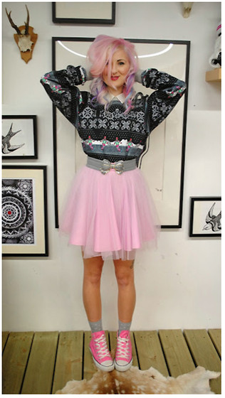 Amanda Davies - Obscure Couture Tutu, Converse, Abandon Ship Apparel Jumper - Devil in pink