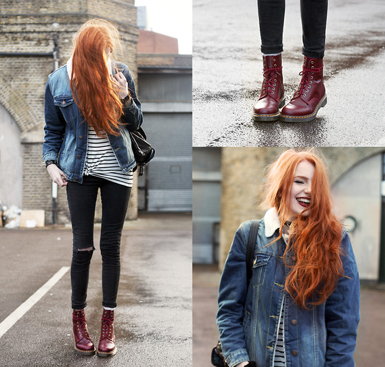 Olivia Emily - Asos Denim Jacket, Mango Striped Top, Dr. Martens Pascal Boots - Pascal.