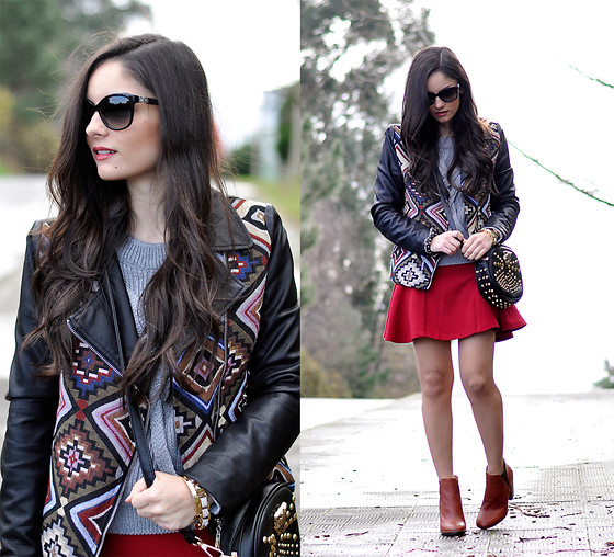 Alba . - Ene Efe Jakcet, Sheinside Sweater - ...Red & Grey...