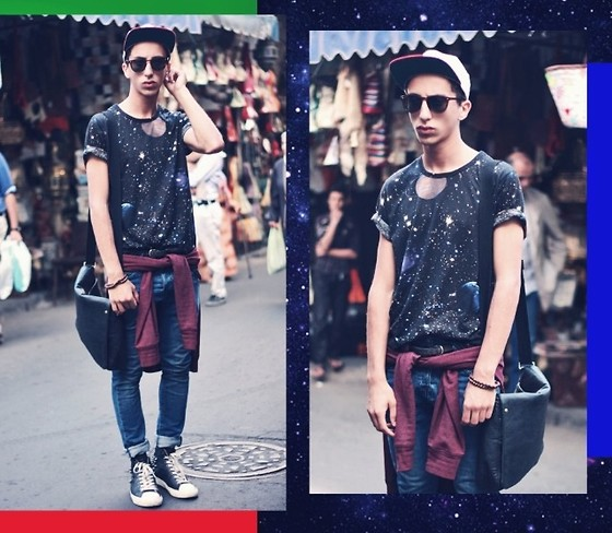 Driss Khadim - Fashops Tee Galaxy, H&M Redotocbre, H&M Skinny, Forfex Killet Shoes, David Jones Blackcover Bags - Galaxy art /UK inspiration