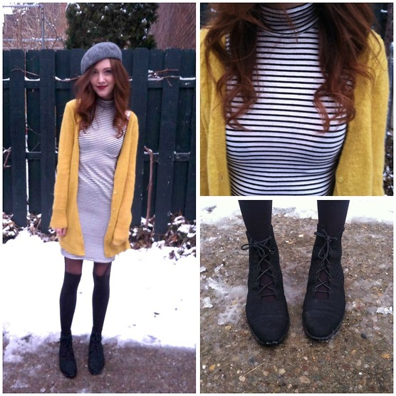 Maddie T - Petra Booties, Striped Turtleneck Dress, Bcbg Cardigan, H&M Beret, Urban Outfitters Tights - It's Beret Cold Outside