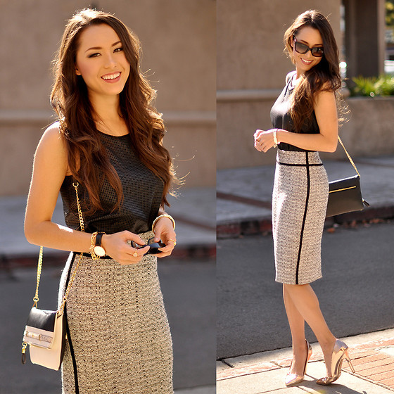 Jessica R. - Ann Taylor Perforated Black Top, Ann Taylor Tweed Skirt, Ann Taylor Belted Crossbody, Dailylook Gold Heels - The A-List