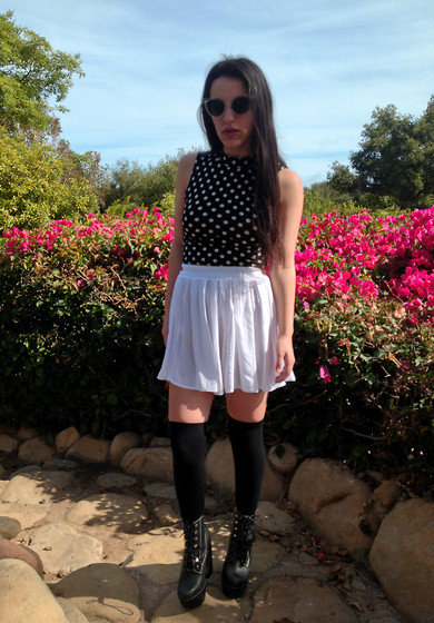 Danielle Gold - Jeffrey Campbell Shoes, American Apparel Thigh Highs, American Apparel Skirt, Urban Outfitters Polka Dot Top, Unif Moodys - Monochrome in color