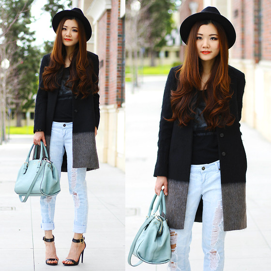 Yuzi Katrina - All Saints Light Fur Coat, Charlotte Russe Single Sole Heel, Kate Spade Mint Bag - Sun on Sunday