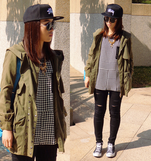 Rika J. - Stüssy Cap, Gumzzi Coat, Selina Kuo X Rica Juang Houndstooth Print Top, Converse - You Are My Sunshine