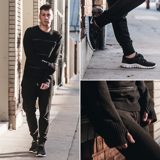Reinaldo Irizarry - Hot Topic Sweater, Zara Jogger Pants, Nike Sneakers - BACK IN BLACK