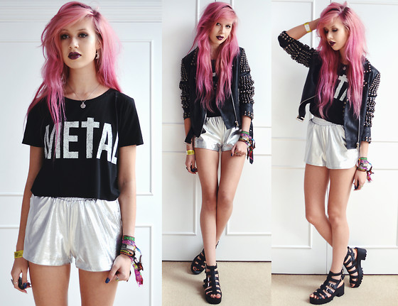 Amy Valentine - Persun Metal Crop Top, Boohoo Silver Running Shorts, Boohoo Black Chunky Sandals, Missguided Studded Jacket - HEAVY METAL #OWNIT