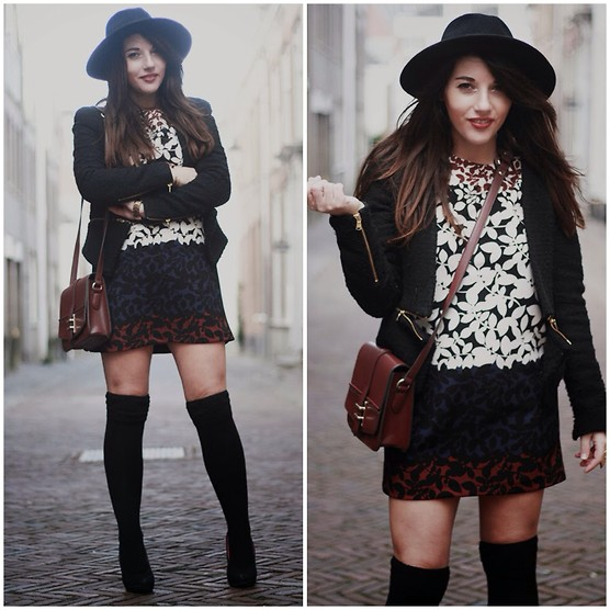 Wendy Van Soest - H&M Hat, Zara Dress, Zalando Bag, Soshin Overknees, Zara Blazer - The School Girl Look