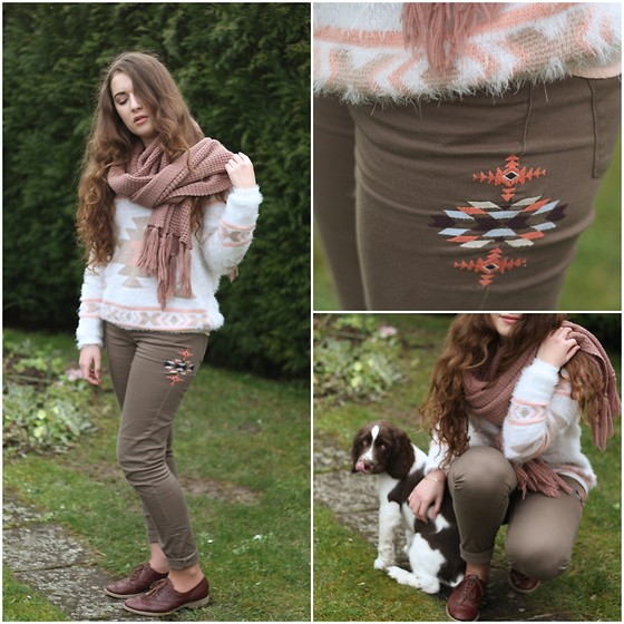 Axelle et ses caprices - Pimkie Fluffy Jumper, Mango Embroidered Pants, Asos Derbies, Pieces Pink Scarf - Cocooning
