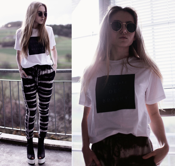 Jessica Christ - Brashy Tee, Fizzen Pants, H&M Heels, Ray Ban Sunglasses - Comme des brashy