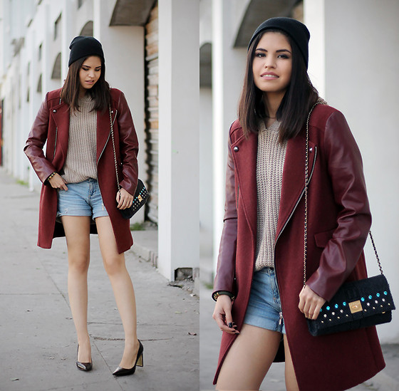 Adriana Gastélum - Sheinside Oxblood Coat & Denim Shorts, Sammydress Hooded Knitted Sweater, V73 Clutch, Coach Heels - Back to normal